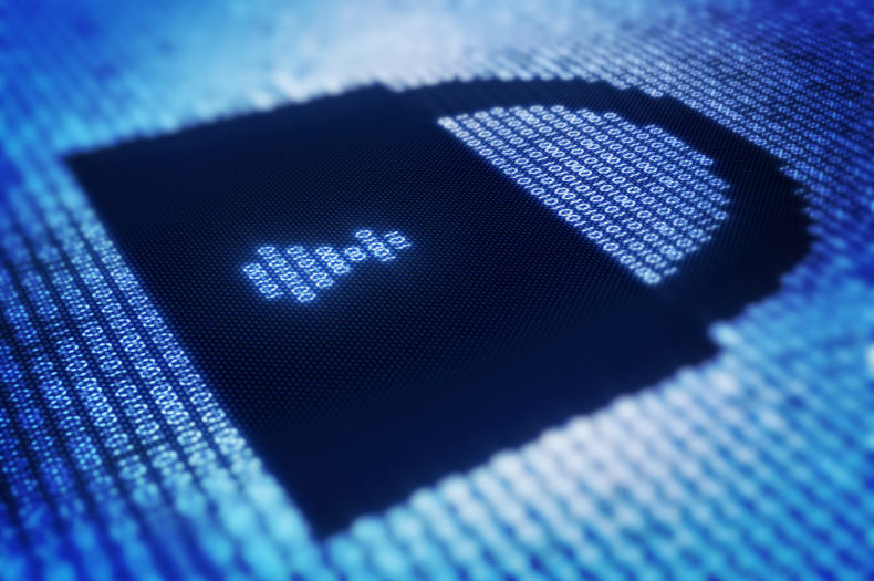 Binary code and lock on detail pixellated screen - 3d render with selective focus